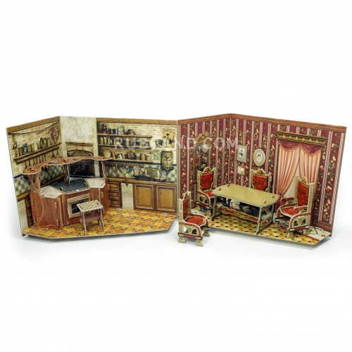 Kitchen and dining room  Kitchen and dining room is perfect for your dollhouse!