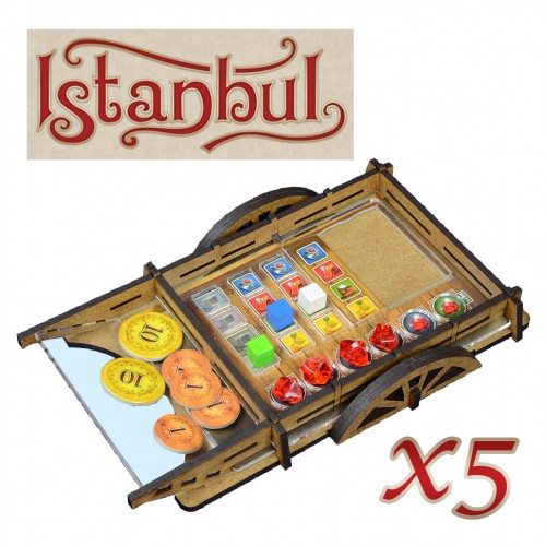 Player's organizer (for Istanbul) Wheelbarrows is a special cardboard tile designed as a carriage for each player in the game Istanbul.