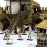 Town wall  - Town square. Actors terrain set with 25 mm cardboard miniatures