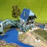 Country buildings set  - A house with a bridge terrain with miniatures