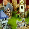 Medieval castle (bourg) set  - Medieval castle (bourg) terrain set for war games and dioramas compatable with 28 mm miniatures