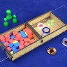 Token Storage Box - Two Sections  - Wooden token box for storange