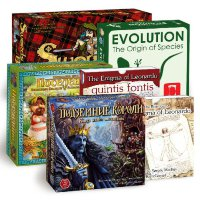 Boardgamer set: Evolution, Kings under Mountains, Founders of the Empire, The Enigma of Leonardo, The Enigma of Leonardo Quintis Fontis,Swords and Bagpipes