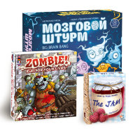 Fun board game set: Big Brain Bang, Zombie! Run for your lives!, The Jam