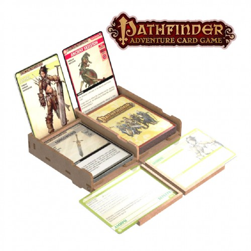 Double-deck cardholder with a horizontal tray (player board for Pathfinder)  Double-deck cardholder with a horizontal tray (player board for Pathfinder) is suitable for all card games.